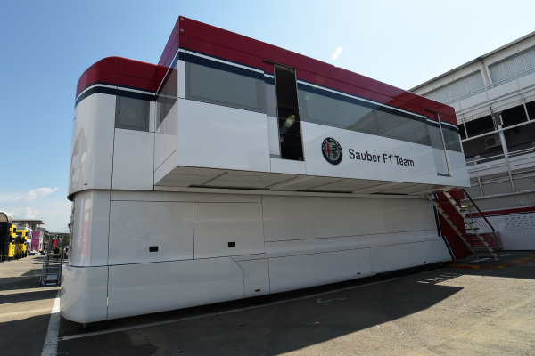 Alfa Romeo Sauber F1 Team trucks in the Paddock