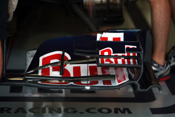 Red Bull Racing RB6 front wing detail. Formula One World Championship, Rd 10, British Grand Prix, Practice Day, Silverstone, England, Friday 9 July 2010.