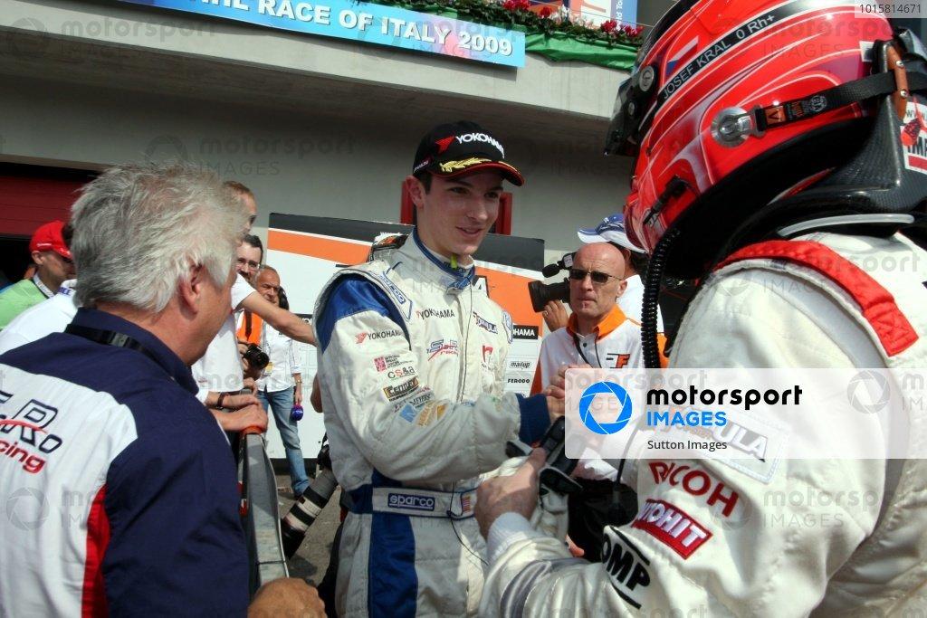 Race 2 winner Alexander Rossi (USA), ISR, left, congratulates Josef Kral (CZE), JD Motorsport, right.International Formula Master, Rd8, Imola, San Marino, Italy, 20 September 2009.