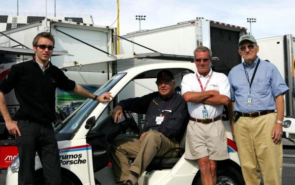 (L to R): Timo Bernhard (GER), Bob Snodgrass (USA) Brumos Boss, Hurley Haywood (USA) and the founder of IMSA and honorary Grand Am Chairman, John Bishop (USA).