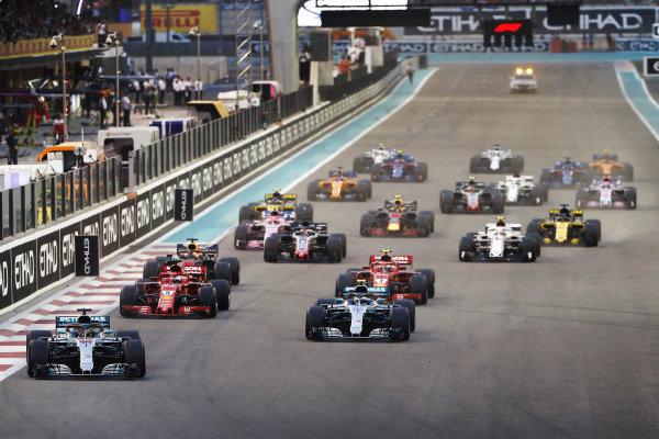 Lewis Hamilton, Mercedes AMG F1 W09 EQ Power+, leads Valtteri Bottas, Mercedes AMG F1 W09 EQ Power+, at the start of the race.