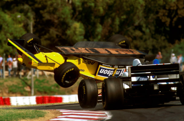 Buenos Aires, Argentina. 5-7 April 1996.Luca Badoer (Forti FG01 95B Ford) crashes spectacularly as his car overturns in the air. Ref-96 ARG 03.World Copyright - Griffiths/LAT Photographic