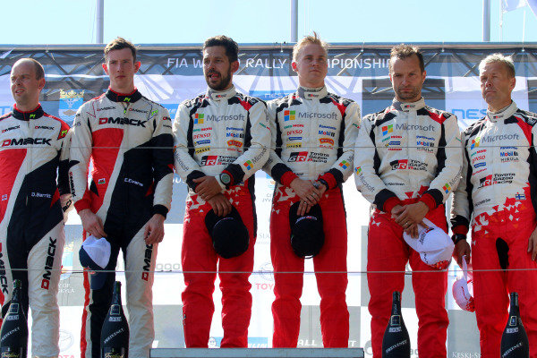 Podium (L to R): Second placed Elfyn Evans (GBR) / Daniel Barritt (GBR), M-Sport World Rally Team WRC, rally winners Esapekka Lappi (FIN) / Janne Ferm (FIN), Toyota Gazoo Racing WRT WRC and third placed Juho Hanninen (FIN) / Kaj Lindstrom (FIN), Toyota Gazoo Racing WRC celebrate on the podium at World Rally Championship, Rd9, Rally Finland, Day Three, Jyvaskyla, Finland, 30 July 2017.