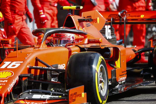 Charles Leclerc, Ferrari SF90, leaves his pit box