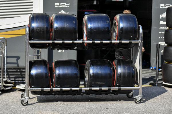 Pirelli Tyres outside the Haas motorhome