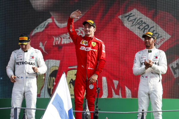Valtteri Bottas, Mercedes AMG W10, Race Winner Charles Leclerc, Ferrari and Lewis Hamilton, Mercedes AMG F1 on the podium