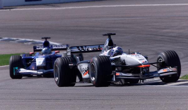 2001 American Grand Prix - RaceIndianapolis, United States. 30th September 2001.David Coulthard, West McLaren Mercedes MP4/16, action World Copyright: Steve Etherington/LAT Photographicref: 18mb Digital Image