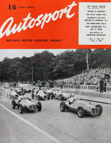 Cover of Autosport magazine, 1st June 1951. Main Picture: Giuseppe Farina,            Maserati 4CLT/48, leads at the start of Grand Prix of Paris, at Bois de Boulogne in France.