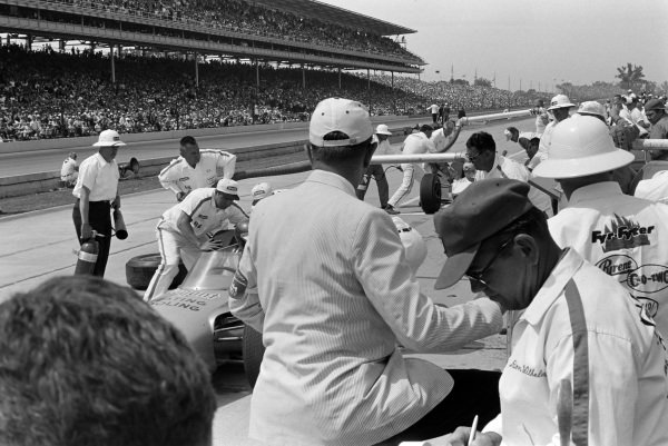Johnny Rutherford, Racing Associates, Watson Offenhauser, makes a pitstop.