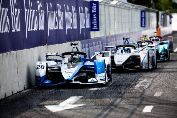 Antonio Felix da Costa (PRT), BMW I Andretti Motorsports, BMW iFE.18, leads Felipe Massa (BRA), Venturi Formula E, Venturi VFE05, Nelson Piquet Jr. (BRA), Panasonic Jaguar Racing, Jaguar I-Type 3, and Sam Bird (GBR), Envision Virgin Racing, Audi e-tron FE05