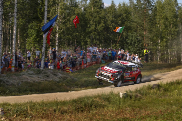 Craig Breen at lands at high speed over one of the many crest in Rally Finland