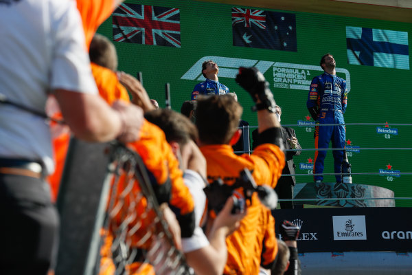 Lando Norris, McLaren, 2nd position, and Daniel Ricciardo, McLaren, 1st position, on the podium