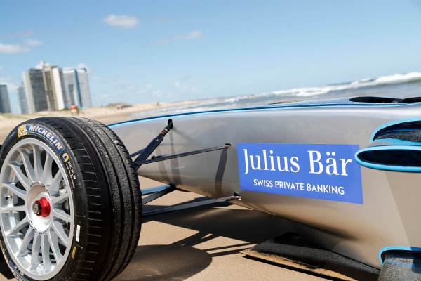 FIA Formula E Test Day. Formula E Car on the beach. Punta Del Este, Uruguay, South America. Formula E Third Race Event, 11th - 14th December 2014. Sunday 14 December 2014.  Photo: Adam Warner/LAT/FE ref: Digital Image _L5R5157