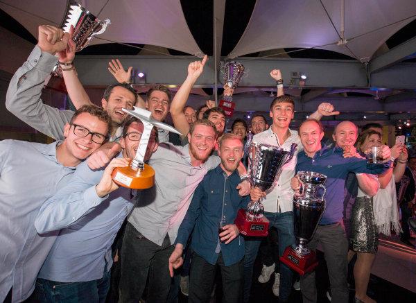 2017 Awards Evening. Yas Marina Circuit, Abu Dhabi, United Arab Emirates. Sunday 26 November 2017. George Russell (GBR, ART Grand Prix), Anthoine Hubert (FRA, ART Grand Prix), Nirei Fukuzumi (JPN, ART Grand Prix). celebrate with team. Photo: Zak Mauger/FIA Formula 2/GP3 Series. ref: Digital Image _X0W0267