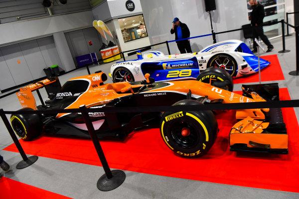 Autosport International Exhibition. National Exhibition Centre, Birmingham, UK. Friday 12th January 2018. A McLaren and Robocar on display.World Copyright: Mark Sutton/Sutton Images/LAT Images Ref: DSC_7913