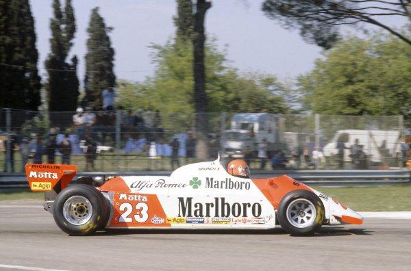 1981 San Marino Grand Prix.Imola, Italy. 1-3 May 1981.Bruno Giacomelli (Alfa Romeo 179C), retired.World Copyright: LAT PhotographicRef: 35mm transparency 81SM14