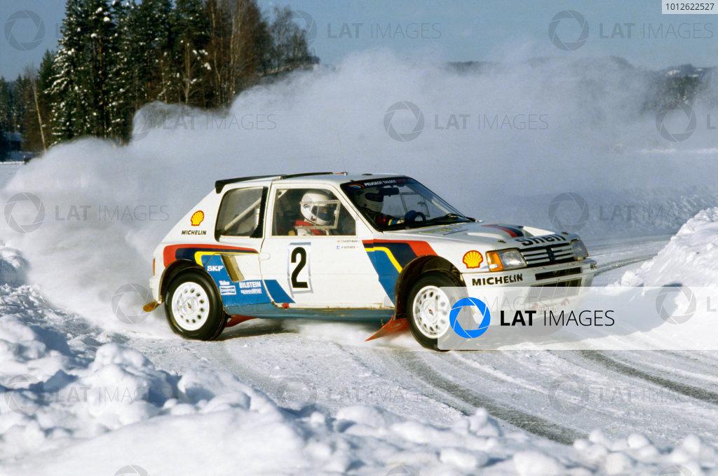 Swedish Rally, Sweden. 15-17 February 1985.Ari Vatanen/Terry Harryman (Peugeot 205 Turbo 16), 1st position.World Copyright: LAT PhotographicRef: 35mm transparency 85RALLY20