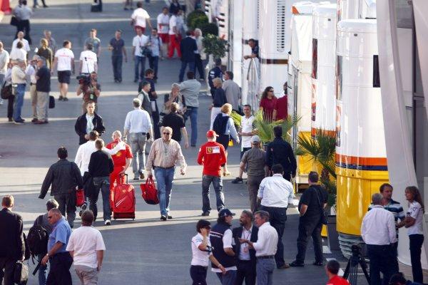 2008 Spanish Grand Prix - Thursday PreviewCircuit de Catalunya, Barcelona, Spain.24th April 2008.Kimi Raikkonen, Ferrari F2008. Walks the the F1 paddock. Atmosphere.World Copyright: Charles Coates/LAT Photographic.ref: Digital Image _26Y0900