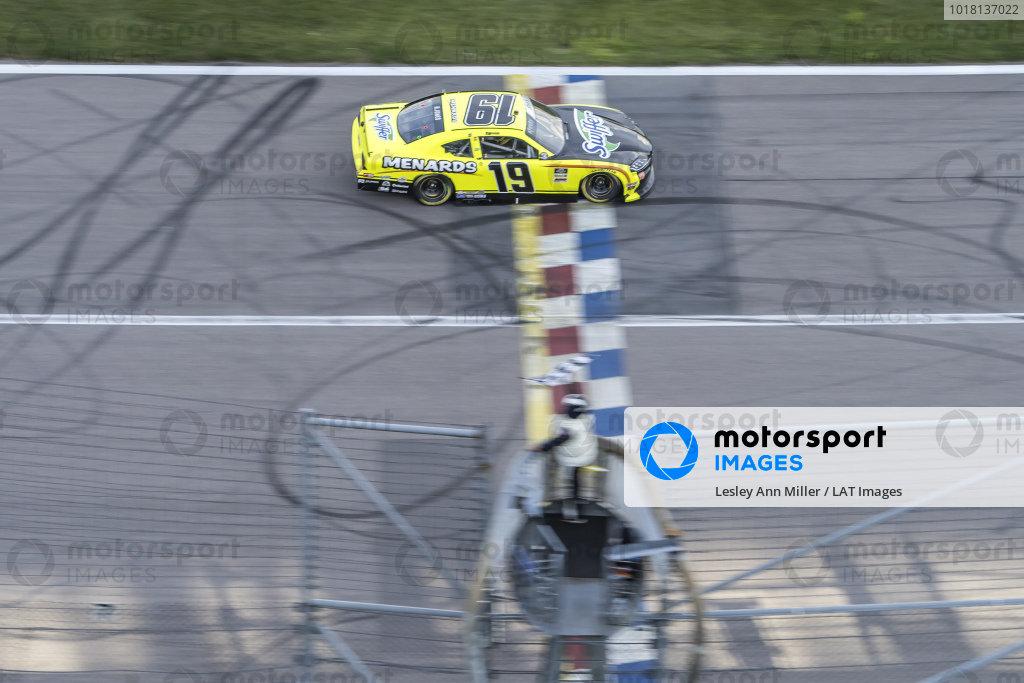 #19: Brandon Jones, Joe Gibbs Racing, Menards/Swiffer Toyota Supra takes the checkered flag