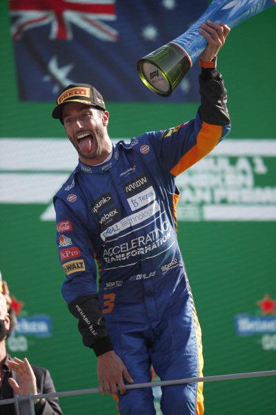 Daniel Ricciardo, McLaren, 1st position, lifts his trophy