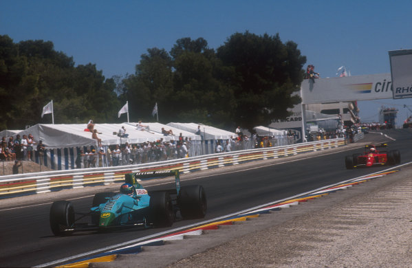 1990 French Grand Prix.Paul Ricard, Le Castellet, France.6-8 July 1990.Ivan Cpelli (Leyton House CG901 Judd) leads Alain Prost (Ferrari 641). They finished in 2nd and 1st positions respectively.Ref-90 FRA 01.World Copyright - LAT Photographic