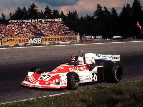 1977 Swedish Grand Prix.Anderstorp, Sweden.17-19 June 1977.Patrick Neve (Williams/March 761 Ford) 15th position.World Copyright - LAT Photographic