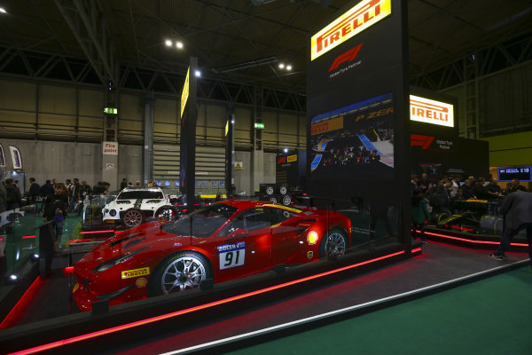 A Ferrari on the Pirelli stand.