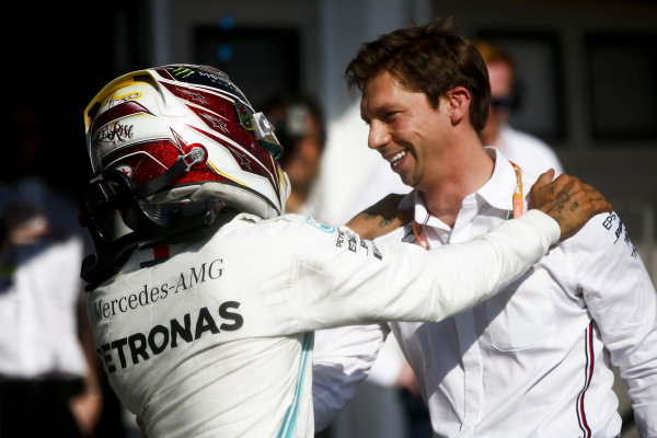 Race winner Lewis Hamilton, Mercedes AMG F1 W10 celebrates in Parc Ferme with James Vowles, Motorsport Strategy Director, Mercedes-AMG