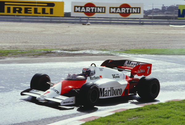 1984 Portuguese Grand Prix.Estoril, Portugal.19-21 October 1984.Alain Prost (McLaren MP4/2 TAG Porsche) 1st position.Ref-84 POR 32.World Copyright - LAT Photographic