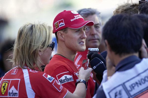 Michael Schumacher being interviewed after the race.