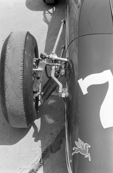 The front wheel detail of Junior Johnson's car.