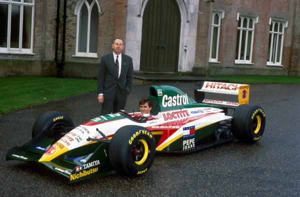 Alex Zanardi (ITA) with Peter Collins (AUS) at the launch of the new Lotus 107C Mugen-Honda. Lotus 107C Mugen-Honda Launch, Ketteringham Hall, Norfolk, England, 7 December 1993.