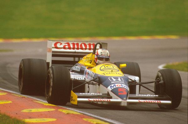 Brands Hatch, England.11-13 July 1986.Nigel Mansell (Williams FW11 Honda) 1st position.Ref-86 GB 21.World Copyright - LAT Photographic