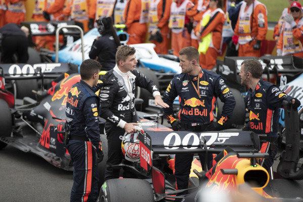 Max Verstappen, Red Bull Racing, explains how he was hit up the rear by Sebastian Vettel, Ferrari SF90