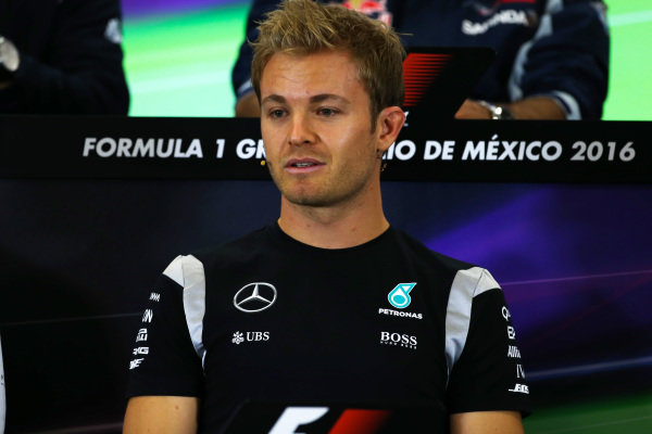 Nico Rosberg (GER) Mercedes AMG F1 in the Press Conference at Formula One World Championship, Rd19, Mexican Grand Prix, Preparations, Circuit Hermanos Rodriguez, Mexico City, Mexico, Thursday 27 October 2016.