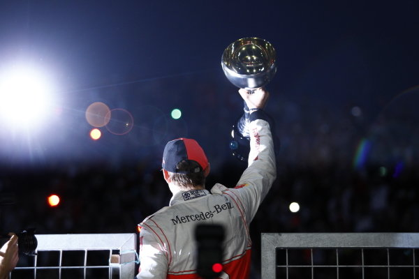 Jenson Button celebrates victory.