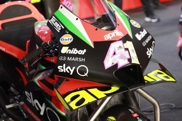 Aleix Espargaro, Aprilia Racing Team Gresini, bike detail.