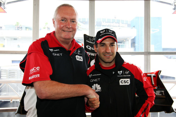 (L to R): John Booth (GBR) Virgin Racing Team Principal and Timo Glock (GER) Virgin Racing, who has signed with the team until 2014. Formula One World Championship, Rd 10, German Grand Prix, Race Day, Nurburgring, Germany, Sunday 24 July 2011.