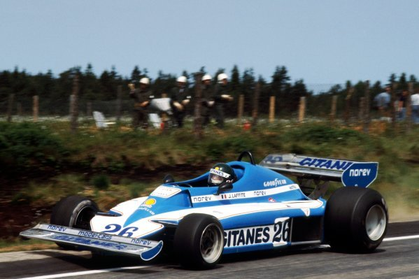 Race winner Jacques Laffite (FRA) Ligier Matra JS7 created history when he secured the first all French GP victory in the 27 years of the Formula One World Championship. Swedish Grand Prix, Rd 8, Anderstorp, Sweden, 19 June 1977. BEST IMAGE