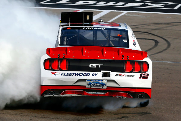 2017 NASCAR Xfinity Series - Boyd Gaming 300 Las Vegas Motor Speedway - Las Vegas, NV USA Saturday 11 March 2017 Joey Logano celebrates his win with a burnout  World Copyright: Russell LaBounty/LAT Images ref: Digital Image 17LAS1rl_2841