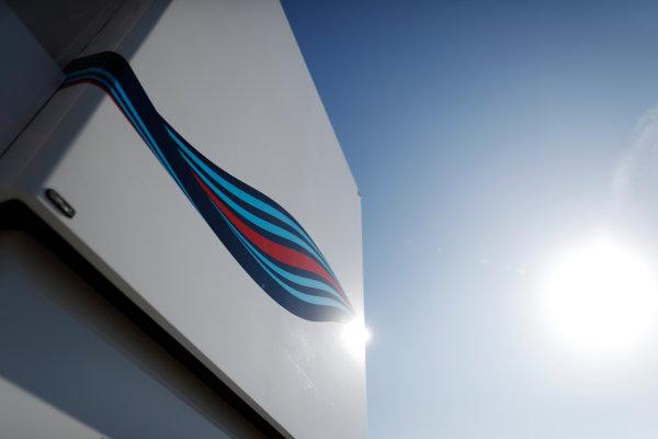 Circuit de Barcelona Catalunya, Barcelona, Spain. Friday 10 March 2017. Martini stripes on the Williams team's motorhome. World Copyright: Glenn Dunbar/LAT Images ref: Digital Image _X4I6898