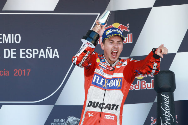 2017 MotoGP Championship - Round 4 Jerez, Spain Sunday 7 May 2017 Podium: third place Jorge Lorenzo, Ducati Team World Copyright: Gold & Goose Photography/LAT Images ref: Digital Image 668743