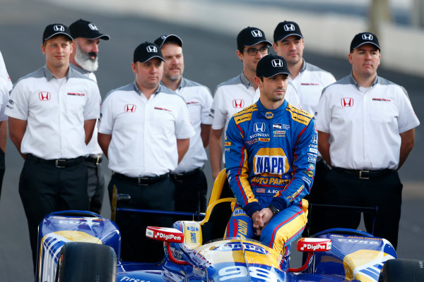 Verizon IndyCar Series Indianapolis 500 Qualifying Indianapolis Motor Speedway, Indianapolis, IN USA Monday 22 May 2017 Alexander Rossi, Andretti Herta Autosport with Curb-Agajanian Honda poses for front row photos World Copyright: Phillip Abbott LAT Images ref: Digital Image abbott_indyQ_0517_21513