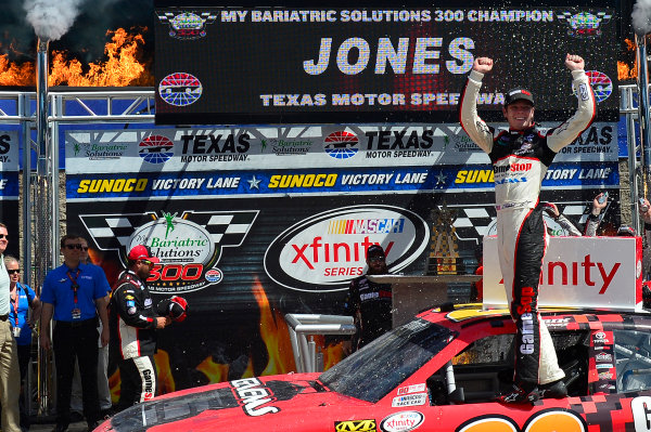 2017 NASCAR Xfinity Series My Bariatric Solutions 300 Texas Motor Speedway, Fort Worth, TX USA Saturday 8 April 2017 Erik Jones, Game Stop/ GAEMS Toyota Camry, Celebrates in victory lane. World Copyright: Logan Whitton/LAT Images ref: Digital Image 17TEX1jh_02908