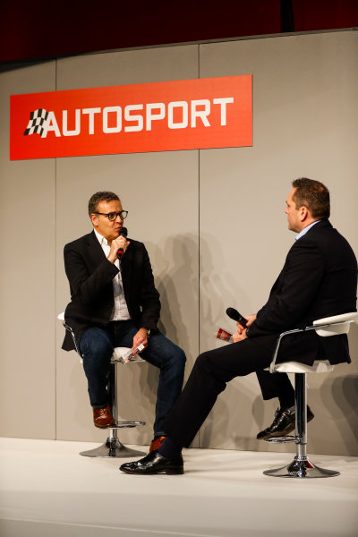 Autosport International Exhibition. National Exhibition Centre, Birmingham, UK. Friday 12th January 2018. A guest talks to Henry Hope-Frost on the Autosport Stage. World Copyright: Glenn Dunbar/LAT Images Ref: _31I2904