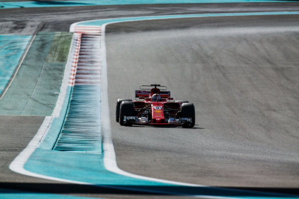 Yas Marina Circuit, Abu Dhabi, United Arab Emirates. Wednesday 29 November 2017. Sebastian Vettel, Ferrari SF70H. World Copyright: Joe Portlock/LAT Images  ref: Digital Image _L5R9012