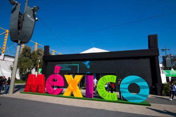 Autodromo Hermanos Rodriguez, Mexico City, Mexico. Friday 27 October 2017. Mexico logo in the Fanzone. World Copyright: Sam Bloxham/LAT Images  ref: Digital Image _W6I0755