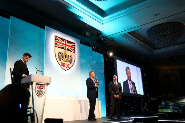 2017 British Racing Drivers Club Awards. London Hilton Hotel, Park Lane, London. Monday 4th December 2017. Jake Humphrey, Martin Brundle and Derek Warwick. World Copyright: Jakob Ebrey / LAT Images. Ref: Warwick-04