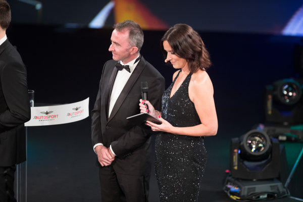 2017 Autosport Awards Grosvenor House Hotel, Park Lane, London. Sunday 3 December 2017. Paddy Paddy Lowe, Williams Martini Racing Formula 1 on stage with Presenter Lee McKenzie. World Copyright: Joe Portlock/LAT Images  ref: Digital Image _R3I6034