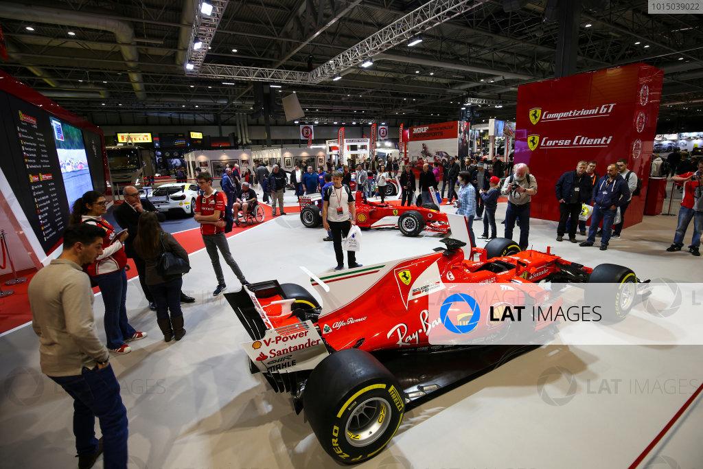 Autosport International Exhibition. National Exhibition Centre, Birmingham, UK. Sunday 14th January 2018. The Ferrari display.World Copyright: Mike Hoyer/JEP/LAT Images Ref: AQ2Y0231